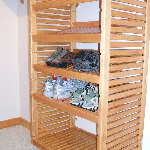 John Louis Home solid wood closet system with tower and shoe shelves.