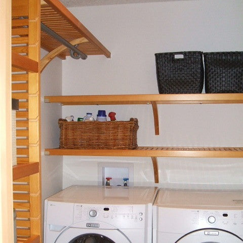 John Louis Home solid wood shelving system for Laundry room.