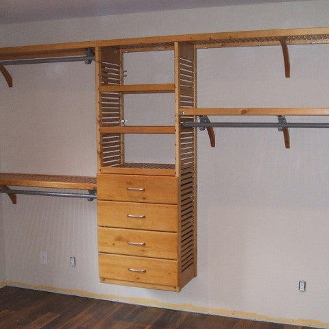 John Louis Home solid wood shelving system with tower for bedroom closet.