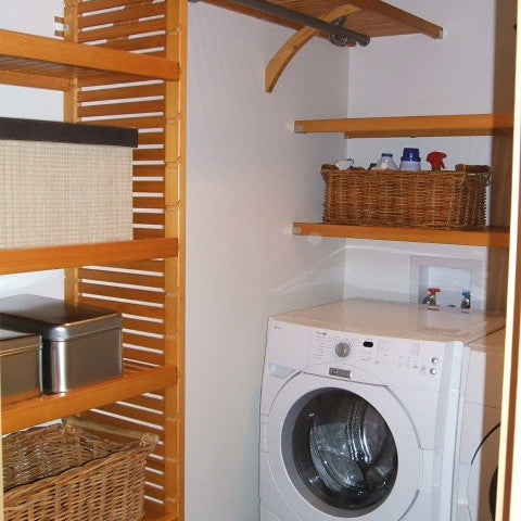 John Louis Home solid wood closet organizer for laundry room.