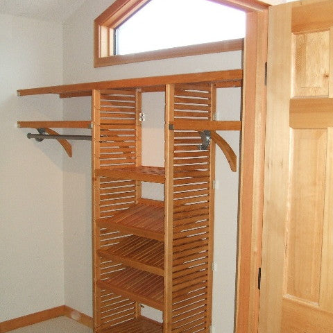 John Louis Home solid wood closet system with fixed top shelf for bedroom closet.
