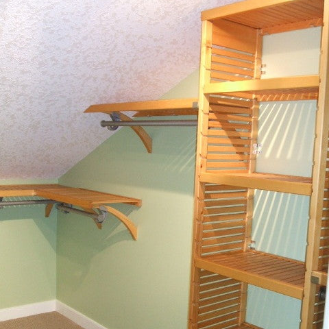 John Louis Home closet organizer for angled and low ceiling.