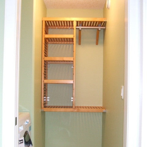 John Louis Home solid wood shelving custom closet design with shortened and narrowed tower.