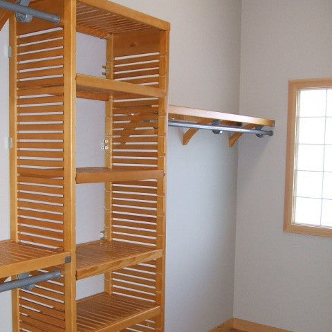 John Louis Home solid wood closet system with tower for bedroom closet.