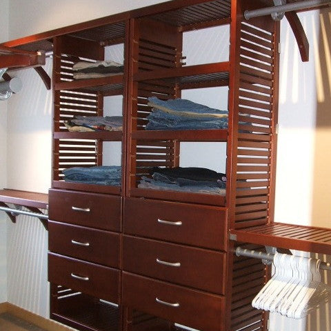 John Louis Home solid wood shelving system with side by side towers for bedroom closet.