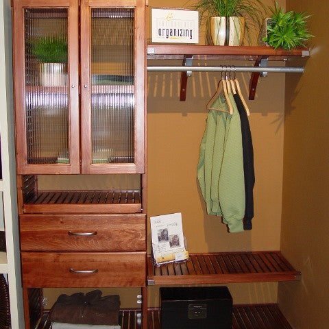 John Louis Home solid wood closet organizer with glass doors drawers and shoe shelf.