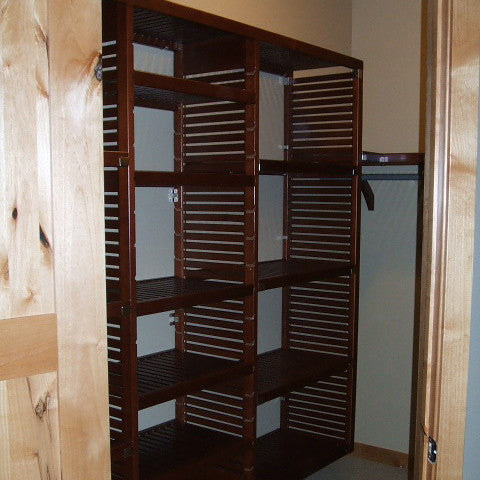John Louis Home solid wood shelving closet design with 3 towers.