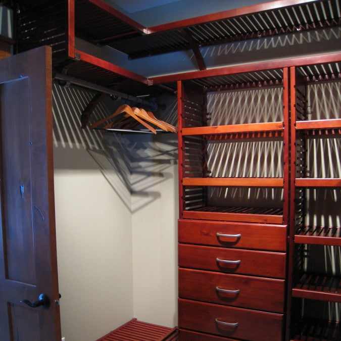 John Louis Home solid wood shelving custom closet organizer with shoe shelf.