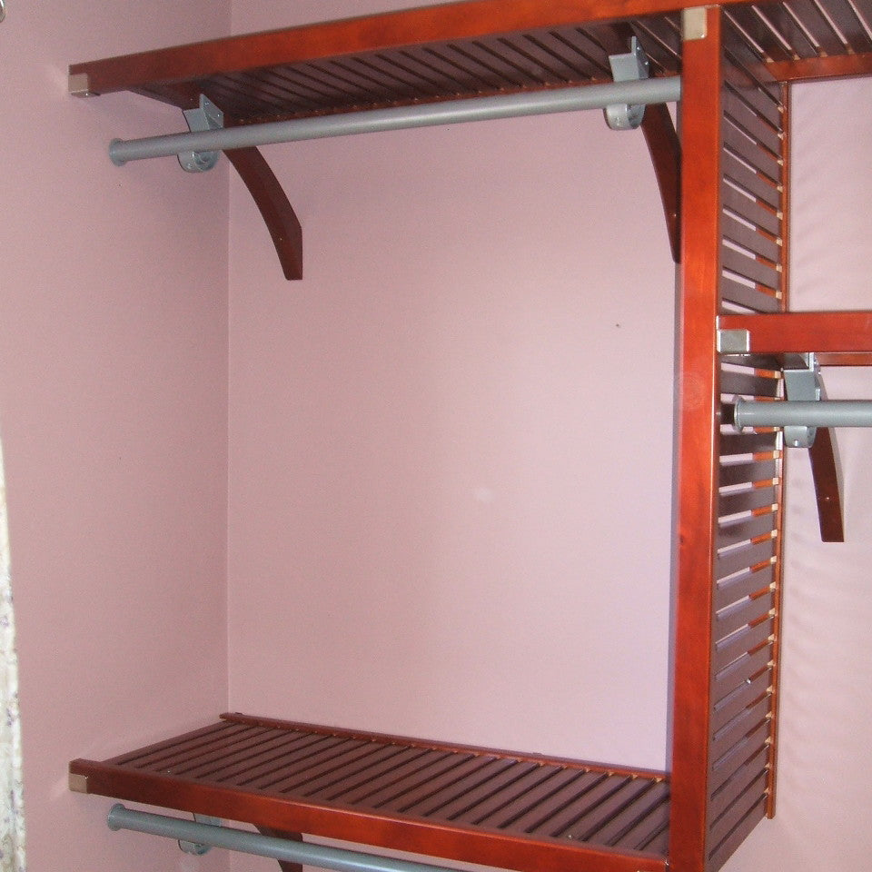 John Louis Home solid wood shelving design for bedroom closet.