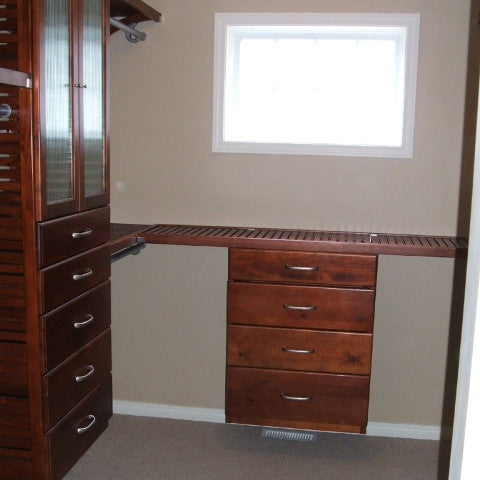 John Louis Home solid wood closet organizer including shortened tower with drawers.