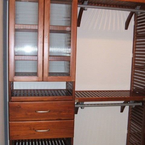 John Louis Home solid wood closet organizer with glass doors drawers and shoe shelves.