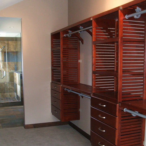 John Louis Home solid wood organizer for bedroom closet.