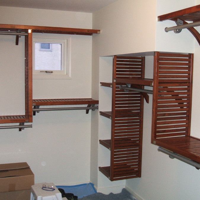 John Louis Home solid wood shelving closet design for dropped ceilings.