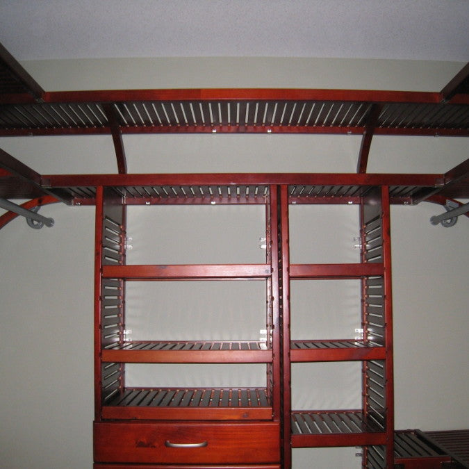 John Louis Home solid wood closet organizer with upper storage shelf.