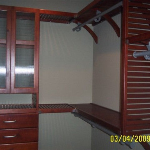 John Louis Home solid wood shelving closet design with glass doors and drawers.