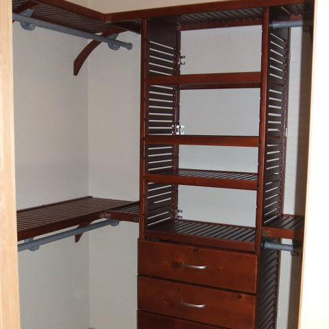 John Louis Home solid wood closet system for bedroom closet.