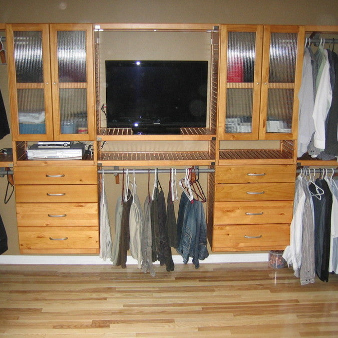 John Louis Home wood shelving design including T.V. shelf and 2 towers, customer installed.