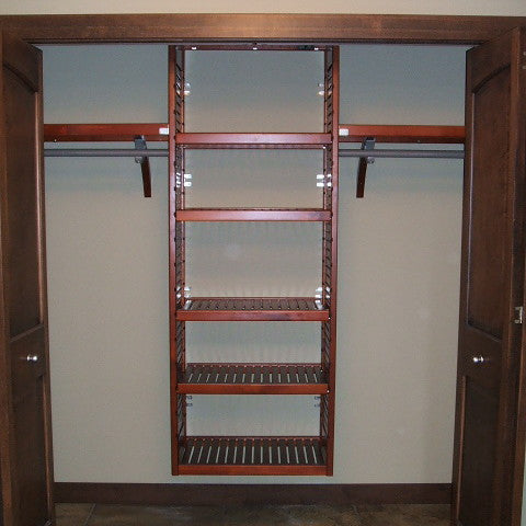 John Louis Home solid wood shelving design with tower for entry closet.
