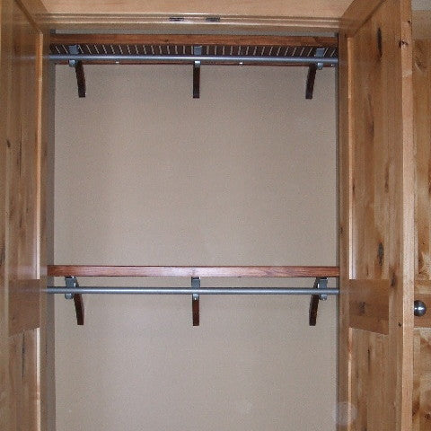 John Louis Home solid wood shelving closet design with double hang shelf and rod for bedroom closet.