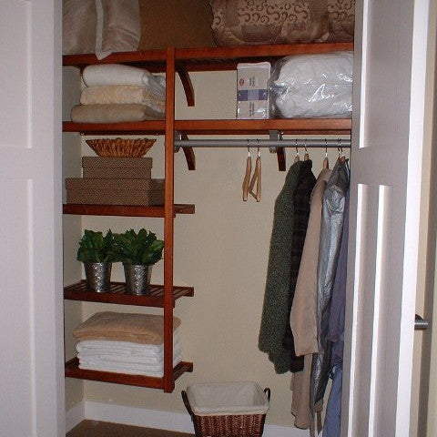 John Louis Home solid wood shelving design with Standard Closet-In-A-Box.
