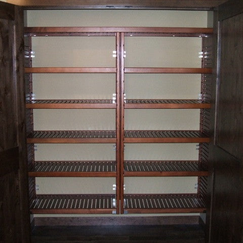 John Louis Home solid wood shelving closet design with two widened towers..