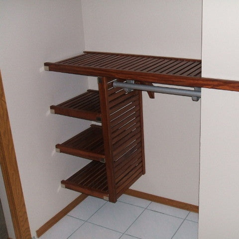 John Louis Home solid wood shelving design for entry closet.