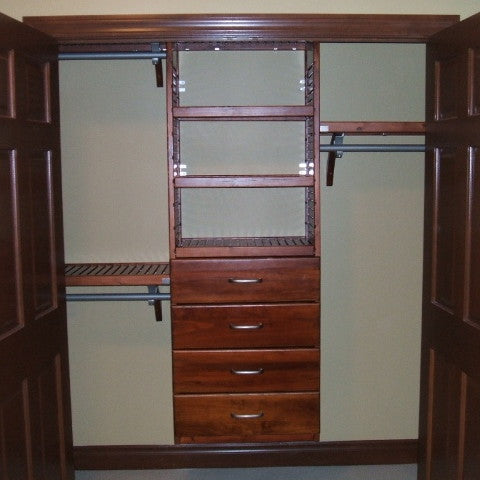 John Louis Home solid wood shelving design with Deluxe tower including drawers for bedroom closet