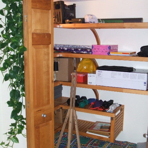 John Louis Home closet solid wood shelving design for storage closet.