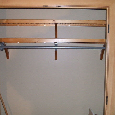 John Louis Home closet solid wood shelving design with fixed shelf for entry closet.