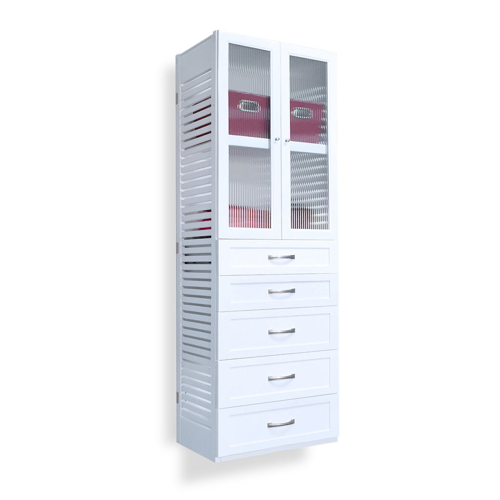 Woodcrest White 16in. Tower with 5 Drawers and Doors