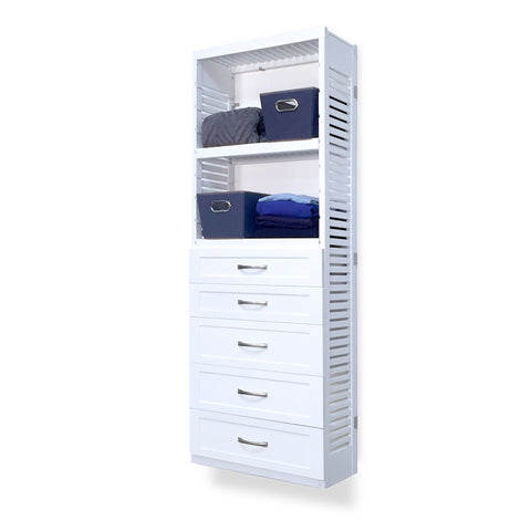 Woodcrest White 12in. Tower with 5 Drawers