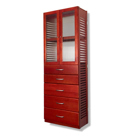 "12"" Deep Tower with 5 Drawers and Doors"