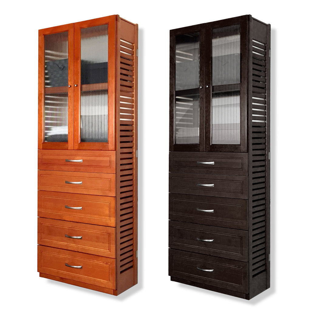 Woodcrest 12in. Deep Tower with 5 Drawers and Doors