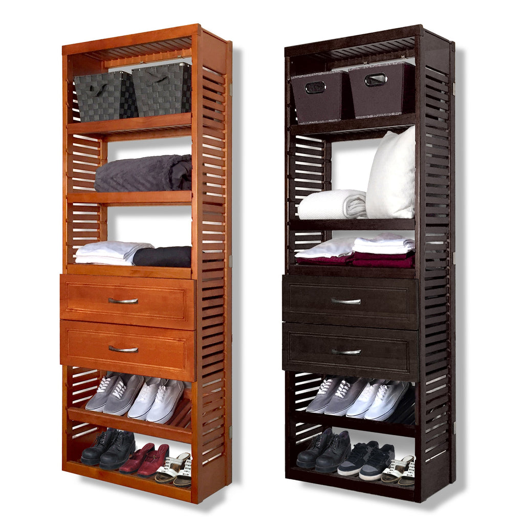 Woodcrest 12in. Deep Tower with Shelves and 2 Drawers