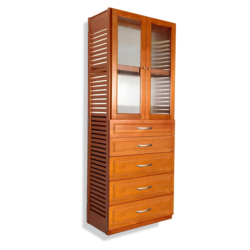 Woodcrest 16in. Deep Tower with 5 Drawers and Doors