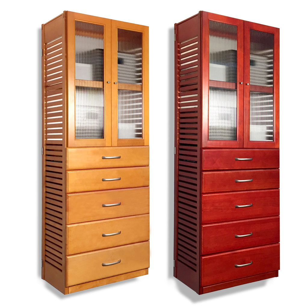 16in. Deep Tower with 5 Drawers and Doors