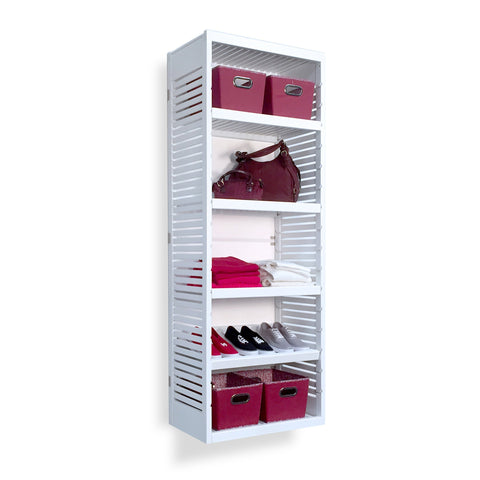 Woodcrest White 16in. Tower with Shelves