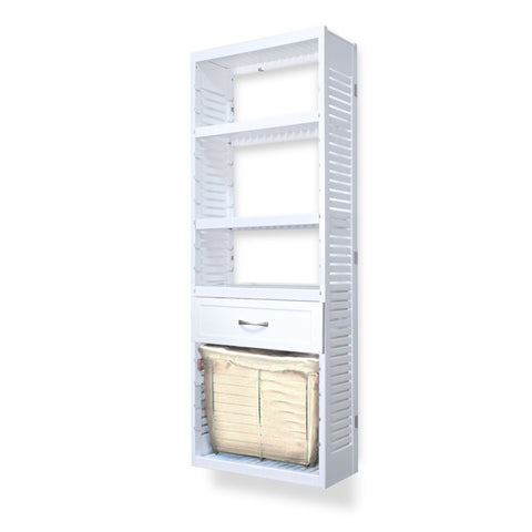 Woodcrest White 12in. Tower with Drawer and Laundry