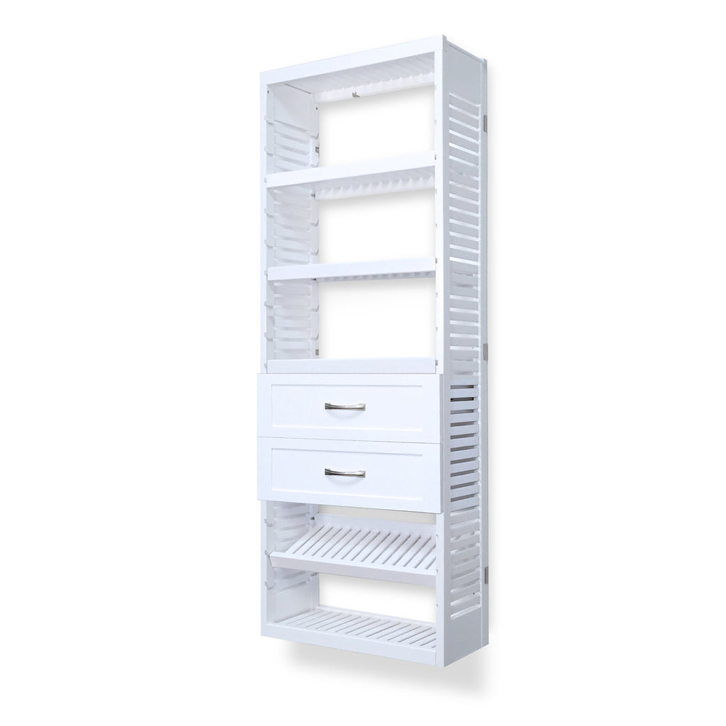 Woodcrest White 12in. Tower with Shelves and 2 Drawers