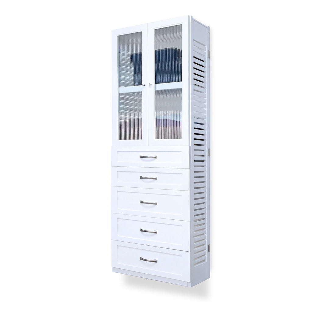 Woodcrest White 12in. Tower with 5 Drawers and Doors