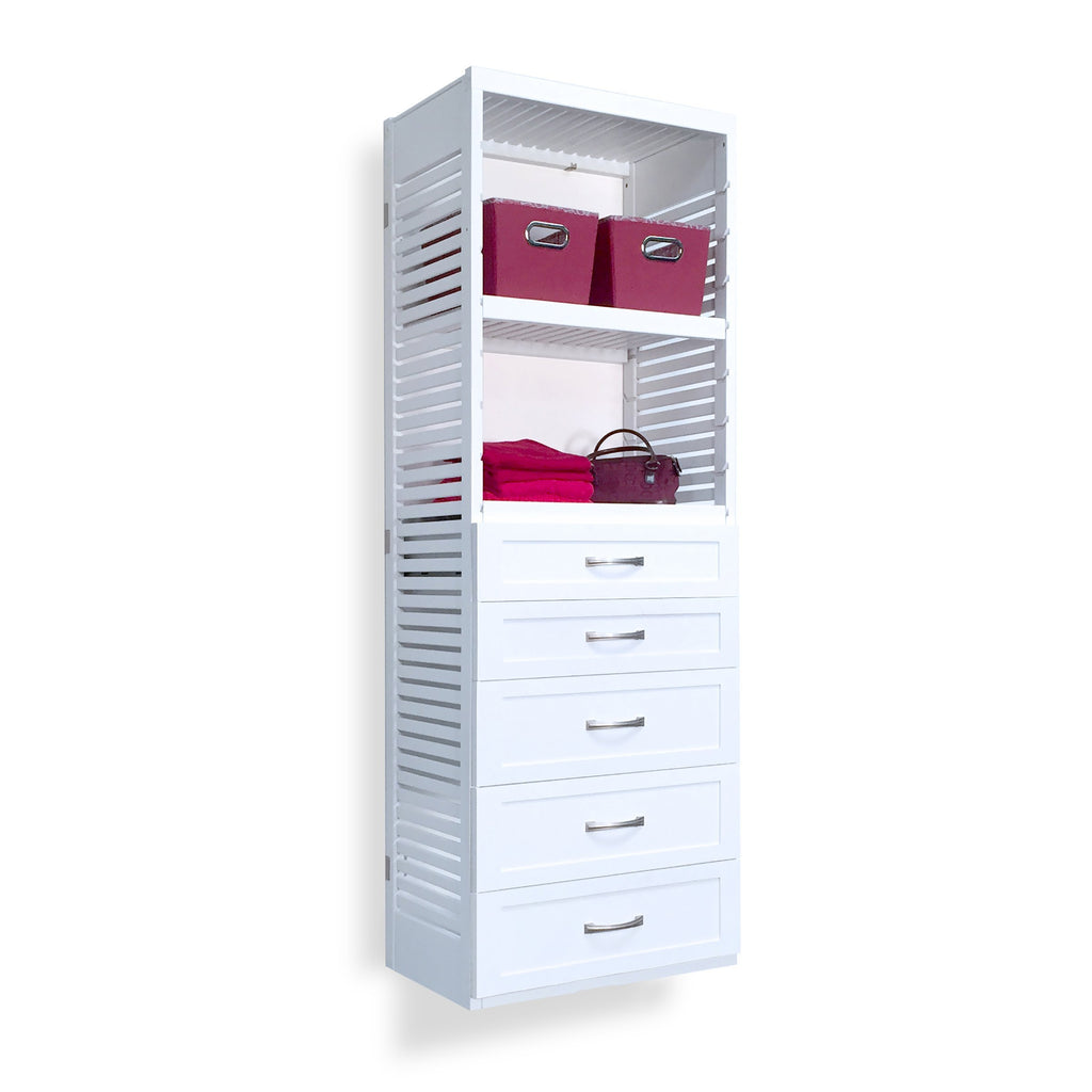 Woodcrest White 16in. Tower with 5 Drawers