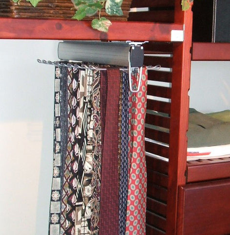 "Under Shelf Mount Tie & Belt Rack for 16"" Deep John Louis Home Shelving and Closet Organizer System"