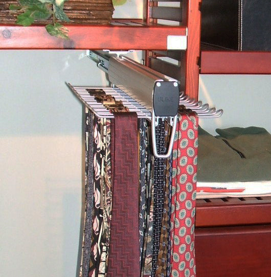 "Under Shelf  Mount Tie & Belt Rack for 16"" Deep Shelving"