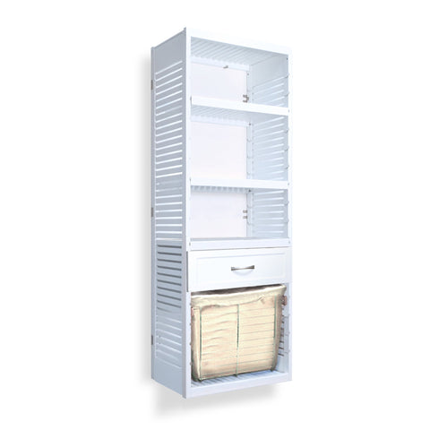 Woodcrest White 16in. Tower with Drawer and Laundry