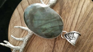 Old World .925 Sterling Silver Huge Faceted Labradorite Gem Pendant