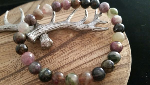 Natural Multi Tourmaline Crystal Bracelet
