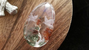 A+ Water Clear Carved Butterfly Inner Scene Quartz Crystal - 14 Grams