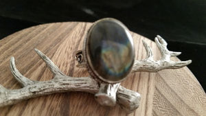 .925 Sterling Silver Natural Polished Flash Labradorite Gem Ring