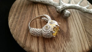 .925 Sterling Silver Round Faceted Lemon Citrine Owl Ring