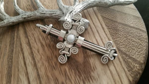Large Swirled Silver Old World Round Moonstone Gem Cross Pendant